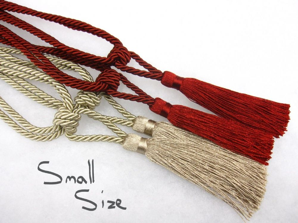 Pair Of Small Curtain Tassel Tiebacks Red Gold Ideal For